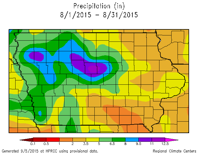 Figure 2: Total precipitation for the state of Iowa during August 2015.
