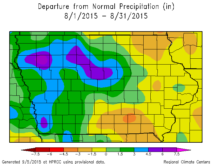 Figure 3: Total precipitation departure from normal for the state of Iowa during August 2015.