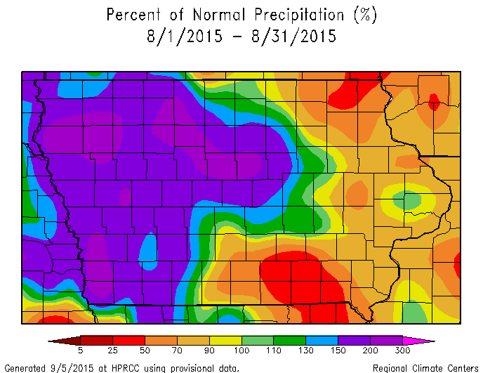 Figure 4: Total precipitation percent of mean for the state of Iowa during August 2015.