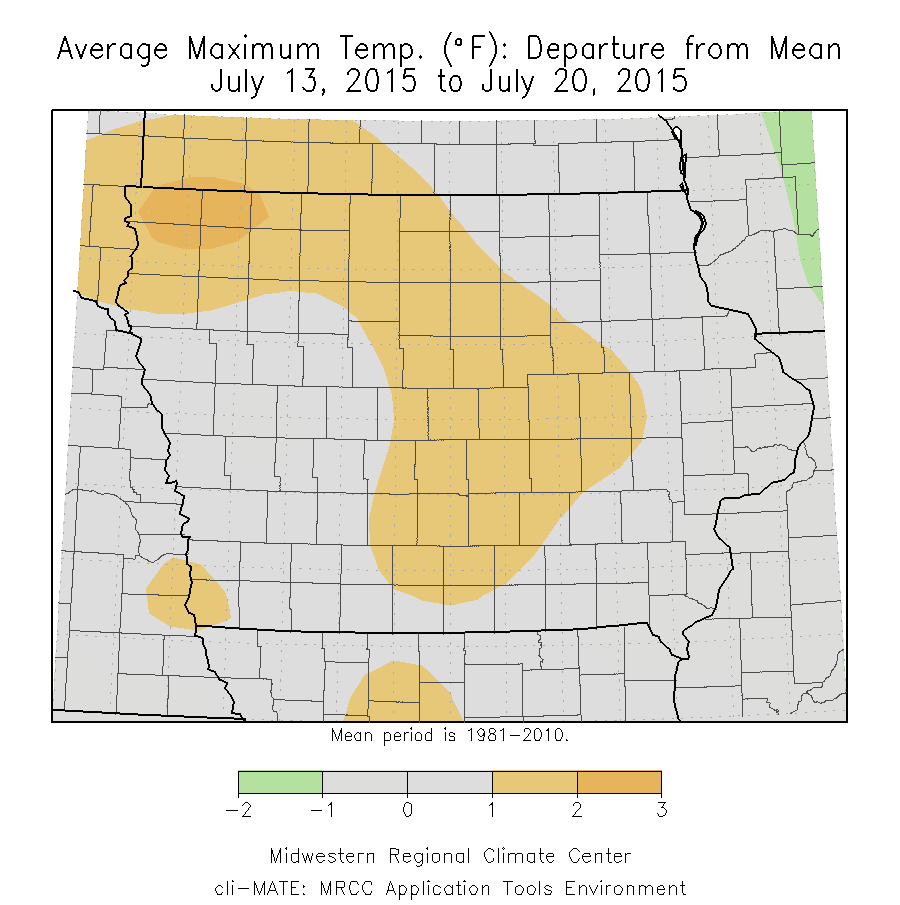 Figure 3: Average Maximum Temperature Departure from Mean from July 13 to July 20, 2015.
