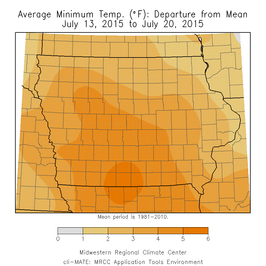 Figure 4: Average Maximum Temperature Departure from Mean from July 13 to July 20, 2015.