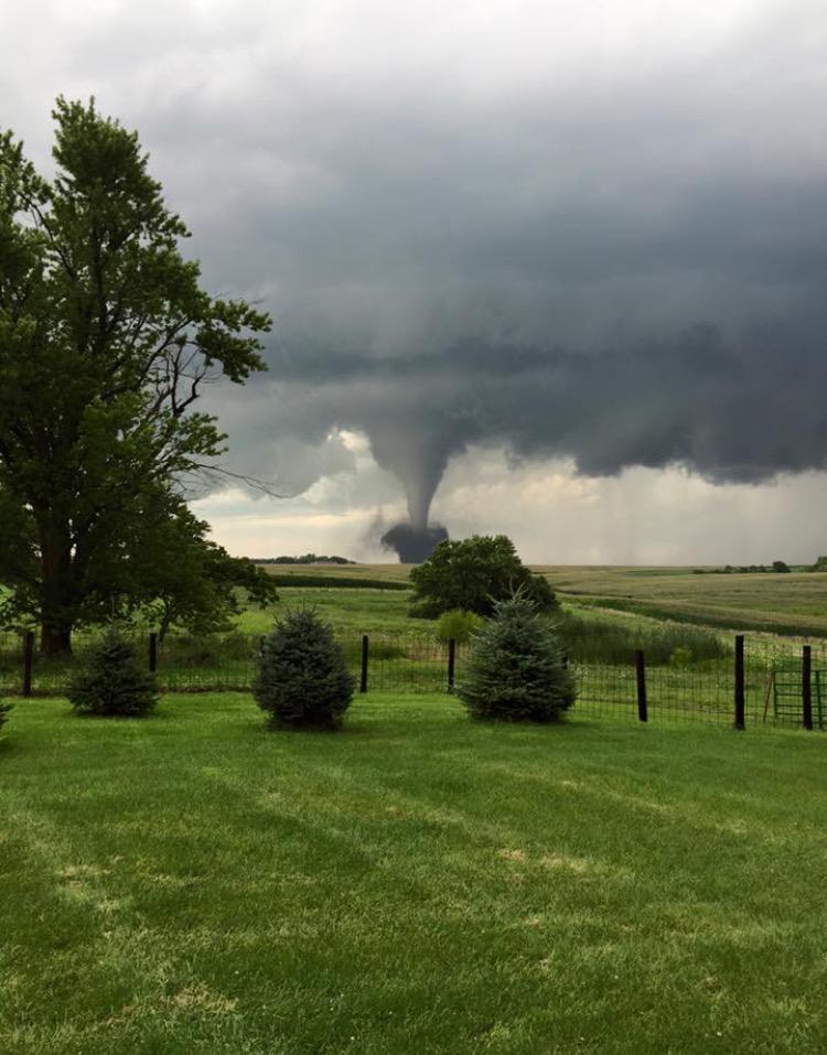 Figure 6: August 2, 2015 EF1 tornado track in Adair and Adams County. Photo is courtesy of Adam Amdor via Twitter (@Amdor_7).