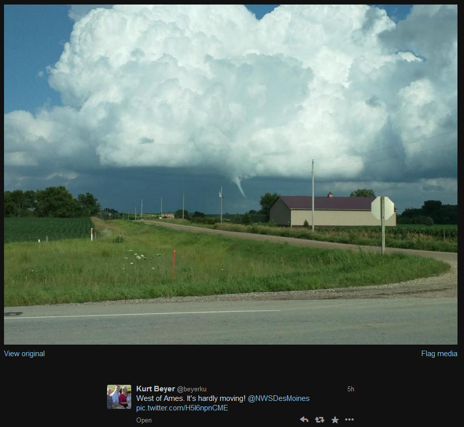 Figures 13 & 14: Reports of funnel clouds on July 13 near Ames, Iowa were shown on Twitter.