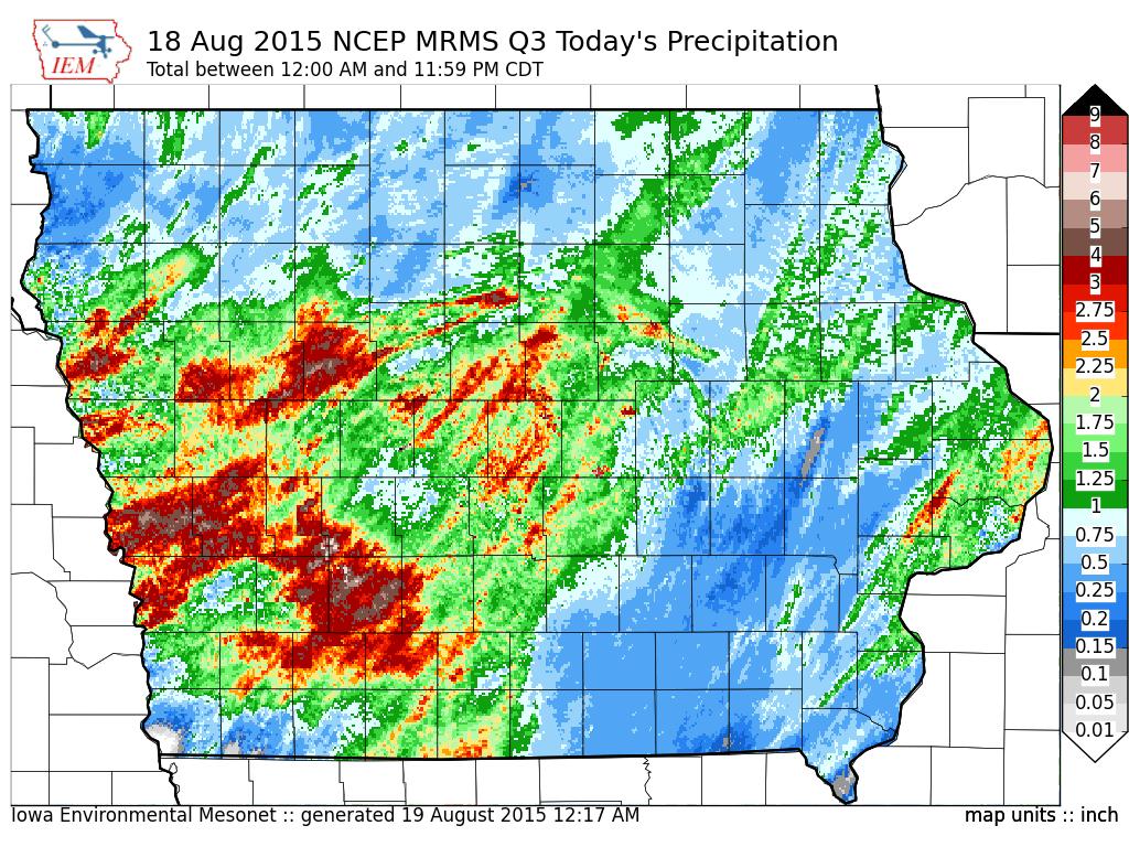 Figure 8: Q3 radar estimated precipitation from August 18, 2015.
