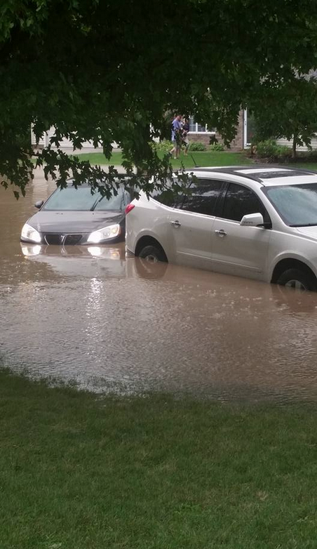 Figure 5a: Flash flooding photos from Carroll on September 6, 2015. Photos are courtesy of KCCI and Iowa Storm Chasing Network.