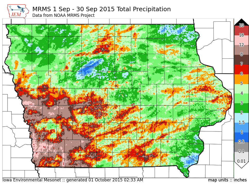 Figure 3: September 2015 total precipitation for the month across Iowa shows the west to southwest received the most significant amounts with the far eastern corners of the state the lowest amounts.