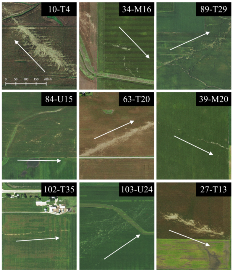 Imagery collage of nine tracks from August 31, 2014, highlighting the wide variety of damage patterns observed. Track direction and identification numbers are provided with each event. All images rendered to the same scale.