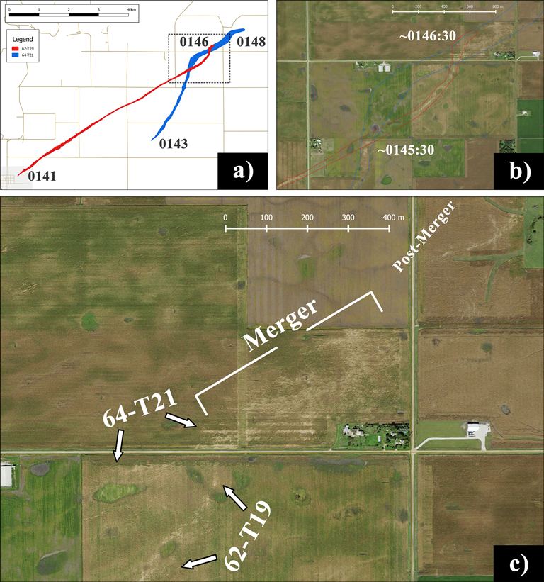 (a) Polygon paths for tornadoes 62-T19 (red) and 64-T21 (blue) with the start and end times (in UTC) for each tornado annotated. Local streets are provided as a map background. The black dotted outline denotes the region encompassed by the aerial imagery shown in (b) of both track crossing points and the merger, with the estimated times of the first crossing point and merger noted. Tracks are outlined and in the same colors as (a). (c) Close-up imagery of the merger point with different stages of the merging process highlighted.