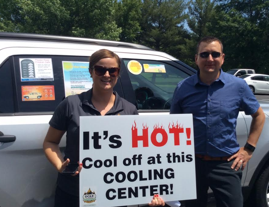 (Left to Right) Nola Aigner, Educator and Public Information Officer, Polk County Health Department; Ken Podrazik, Forecaster, National Weather Service Des Moines