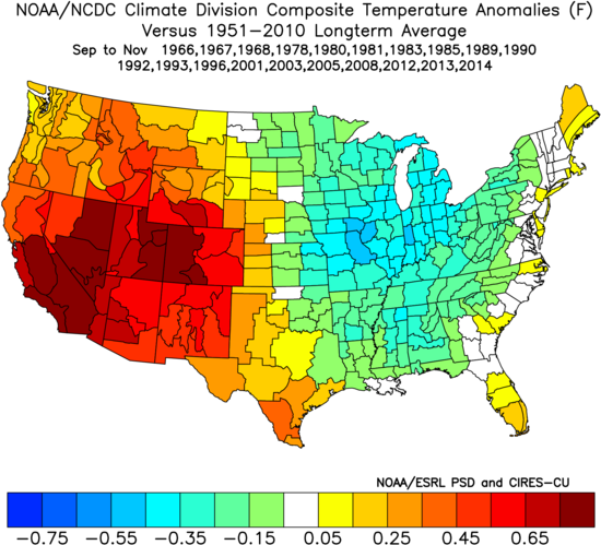Image 2: Temperature Anomalies (F) for previous Neutral events during the Fall.