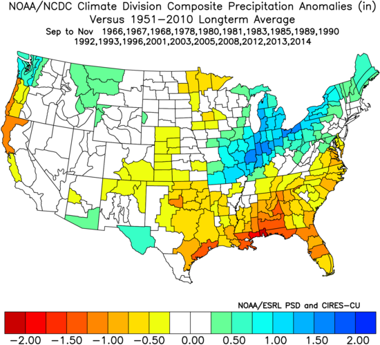 Image 3: Precipitation anomalies (in) for previous Neutral events during the Fall.