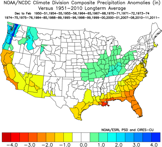 Image 9: Precipitation anomalies (in) for previous La Niña events during the Winter.