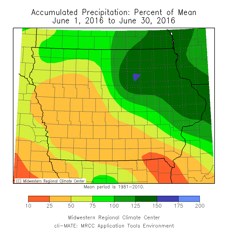 Figure 4: June 2016 Monthly Precipitation Percent of Mean