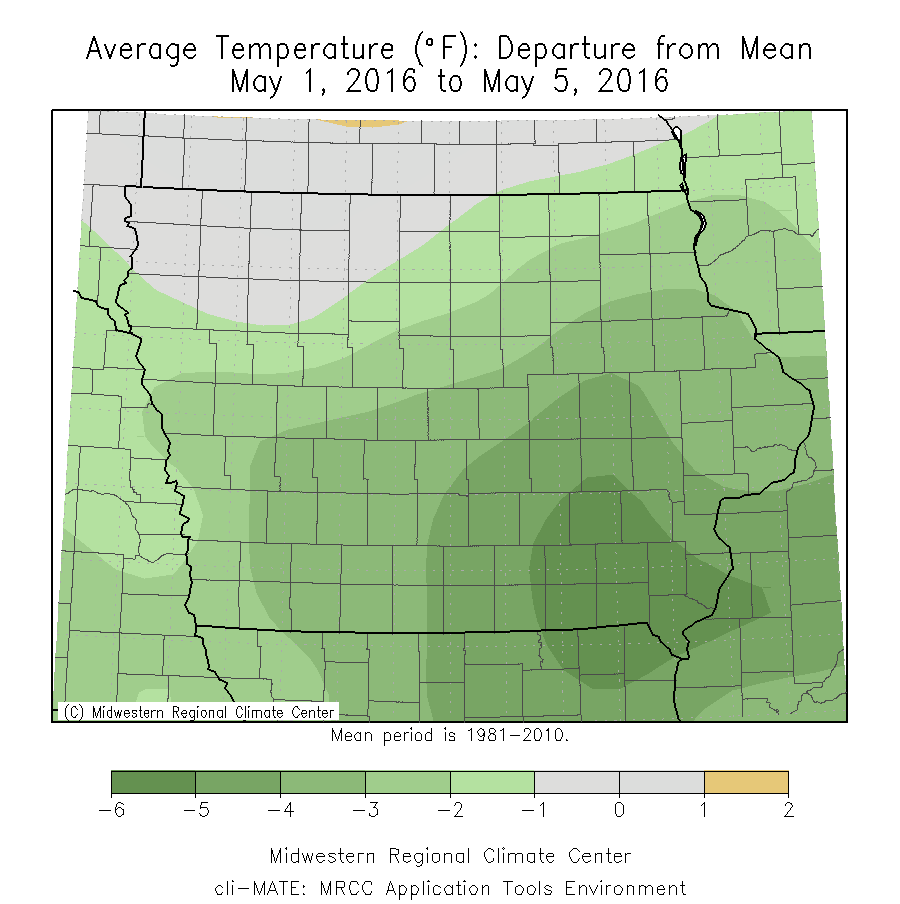 Average Temperature Departure from Mean for May 1-5, 2016.