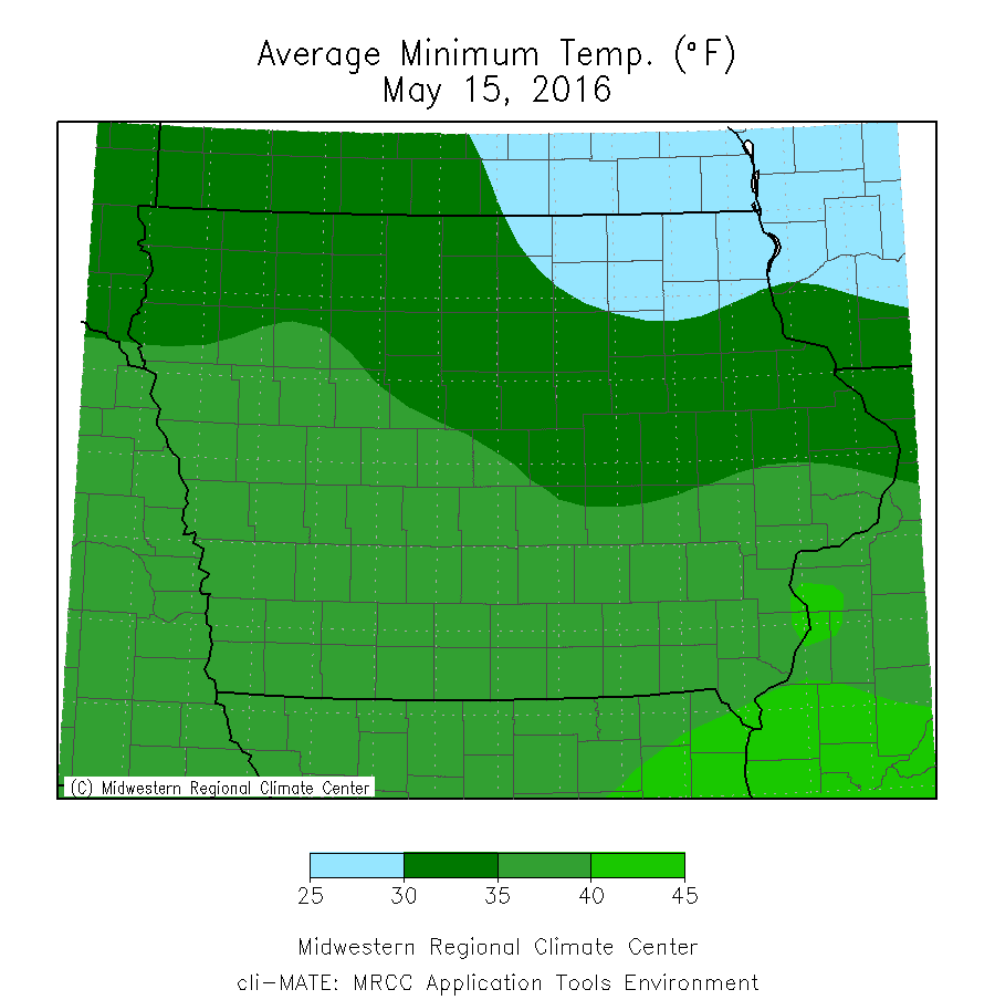 Average Minimum Temperature Departure from Mean for May 15, 2016.