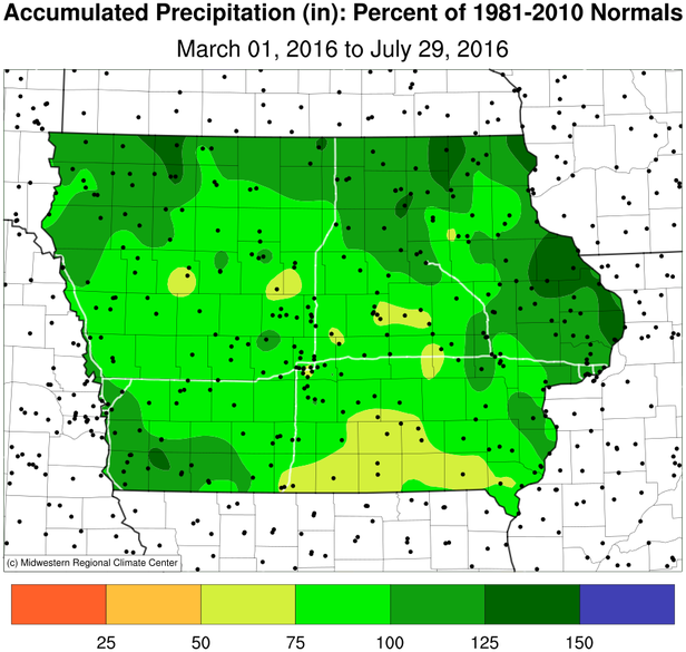Summer rainfall departures – Wet on the edges, dry central and southeast.