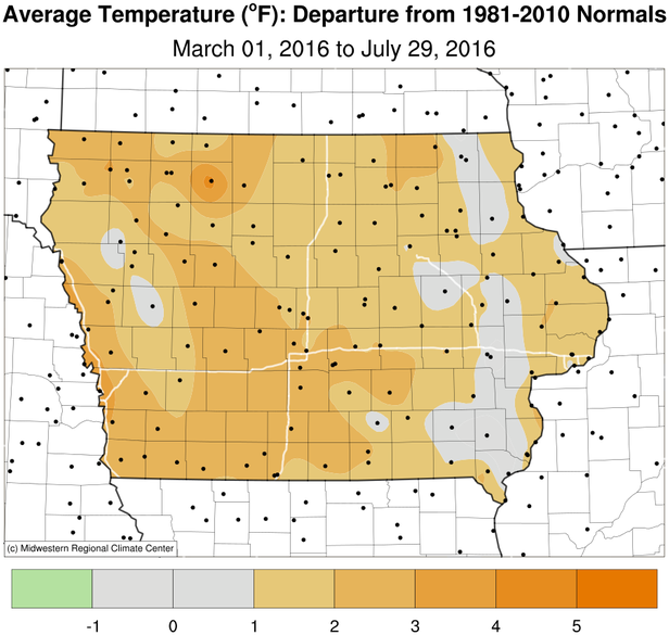 Spring and early Summer temperature departure in Iowa – warmer than normal.