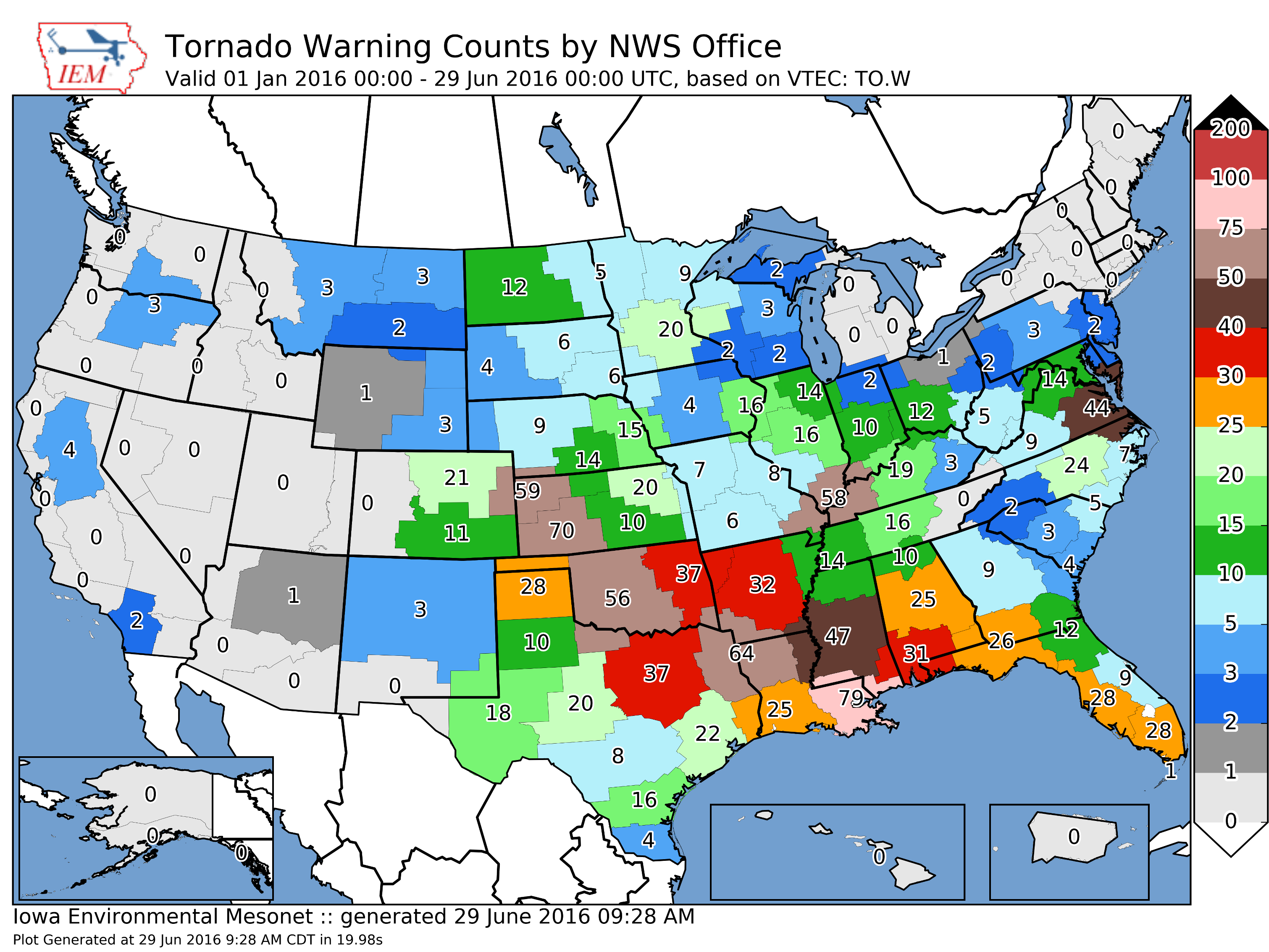 Year-to-Date NWS Tornado Warnings ending on June 29, 2016. NWS Des Moines had only issued 4 tornado warnings up until that point. Image is courtesy Iowa Environmental Mesonet.