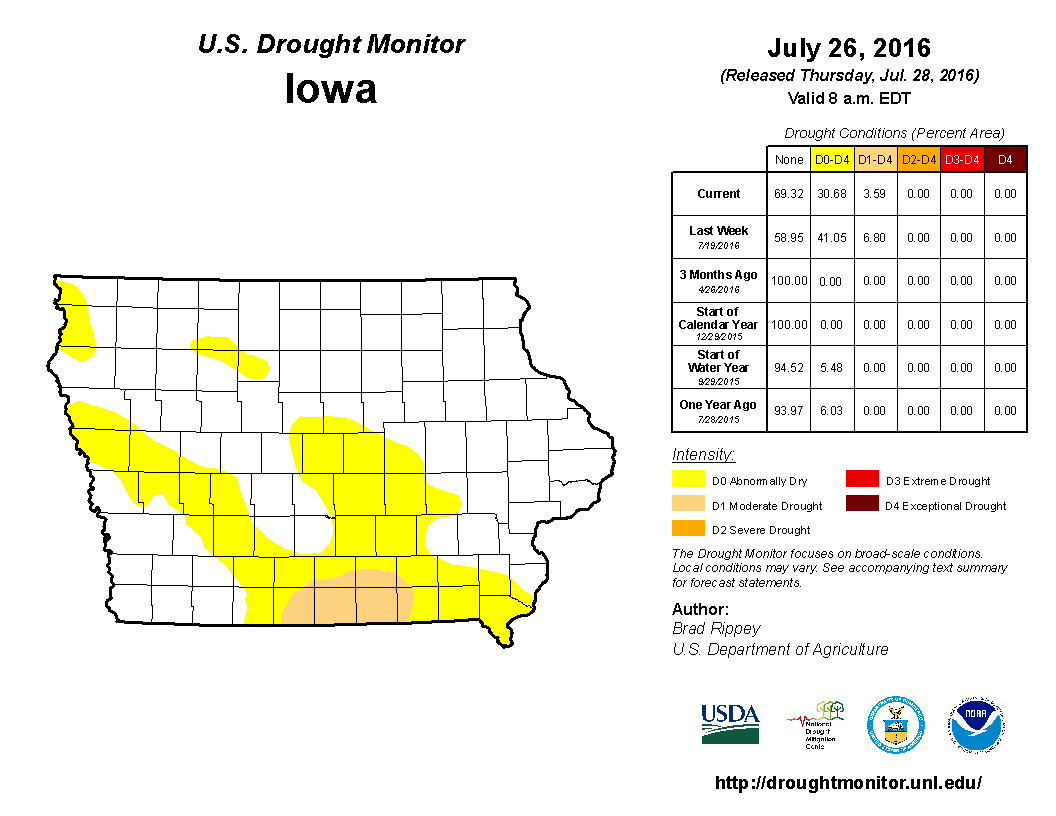 Drought Monitor issued during the last week of July had improving conditions over central and southern Iowa.