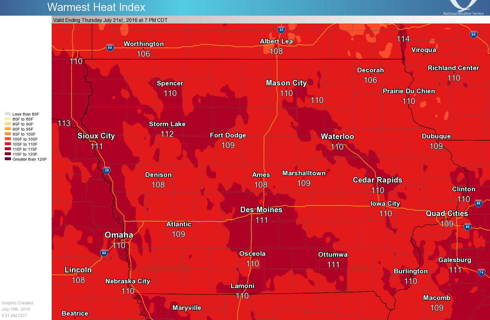 Heat index values on July 21, 2016.