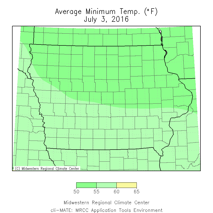 Average minimum temperature for July 3, 2016.