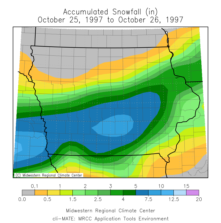 Total snowfall accumulation from a major winter storm that occurred on October 25-26, 1997.