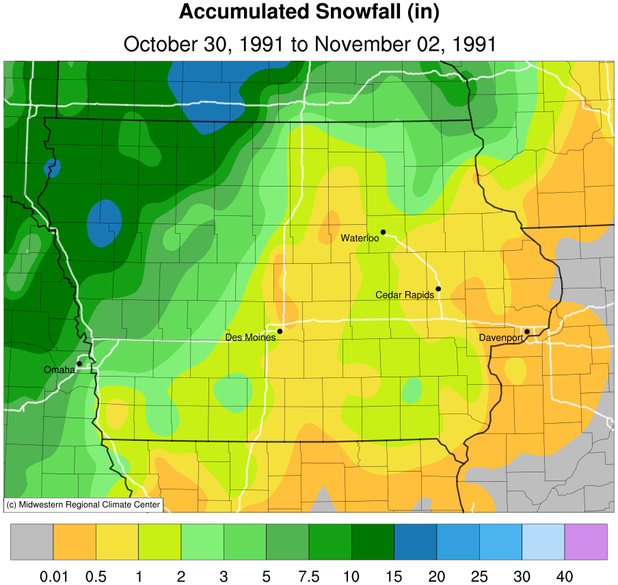 Accumulated Snowfall across Iowa from October 30 to November 2, 1991. The bulk of the precipitation fell on Halloween 1991 much of the eastern two-thirds of the state receiving freezing rain.