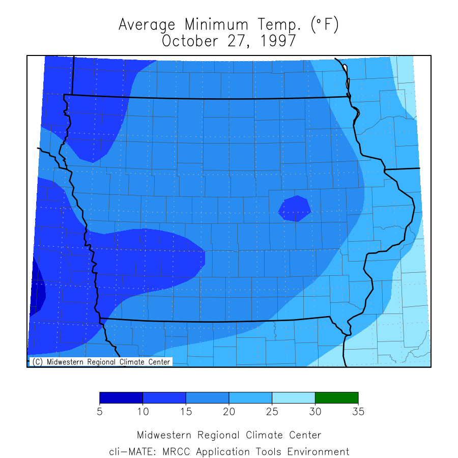Average Minimum Temperature on the morning of October 27, 1997 after a major winter storm.