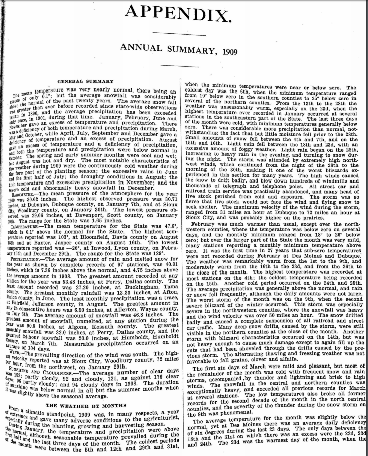 Iowa Annual Climate Summary - 1909