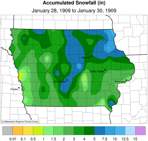 Accumulated snowfall from January 28-30, 1909