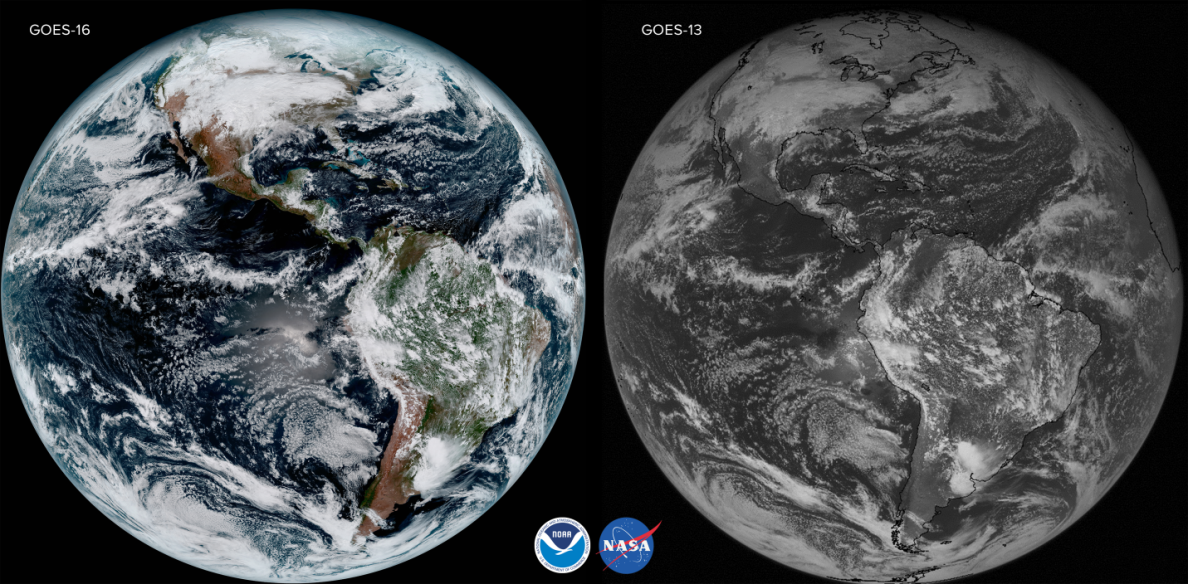 GOES-16 (Left) versus GOES-13 (Right)