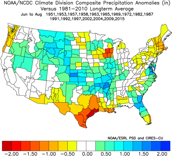 Image 8: Precipitation anomalies (in) for previous El Nino events during the Summer