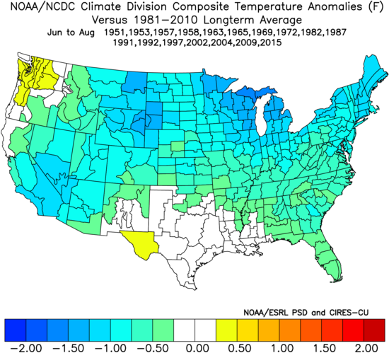 Image 9: Temperature anomalies (F) for previous El Nino events during the Summer