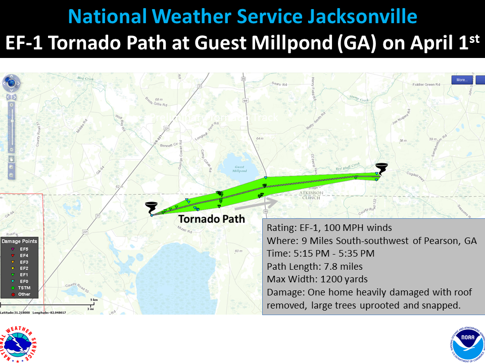 Pearson Georgia Map.Southeast Georgia April 1st Ef 1 Tornadoes Nws Jacksonville Blog